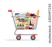 full shopping cart. food store  ... | Shutterstock .eps vector #1302497233