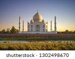 unesco taj mahal in agra  india ... | Shutterstock . vector #1302498670