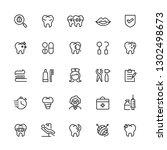 dental icon set. editable... | Shutterstock .eps vector #1302498673