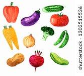 watercolor set of juicy and... | Shutterstock . vector #1302515536