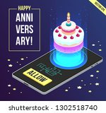 vector isometric anniversary... | Shutterstock .eps vector #1302518740
