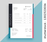 clean modern invoice business... | Shutterstock .eps vector #1302523036
