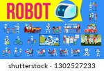 robot helper set vector. future ... | Shutterstock .eps vector #1302527233