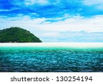 beautiful sunny tropical beach... | Shutterstock . vector #130254194