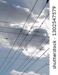 empty electric wire  | Shutterstock . vector #1302547579