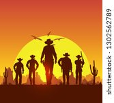 silhouette of five cowboys... | Shutterstock .eps vector #1302562789