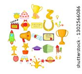 successful movie icons set.... | Shutterstock . vector #1302566086