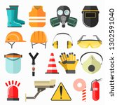 safety work icons. safety at... | Shutterstock . vector #1302591040