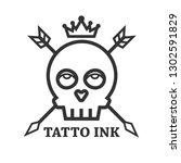 Tattoo Ink Of Black Skull...