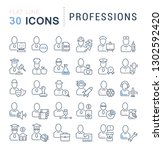 set of vector line icons of... | Shutterstock .eps vector #1302592420