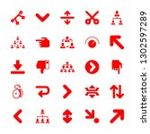 25 down icons with hand with...   Shutterstock .eps vector #1302597289