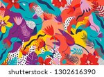 tropical jungle leaves and...   Shutterstock .eps vector #1302616390