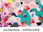 tropical jungle leaves and... | Shutterstock .eps vector #1302616396