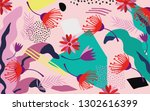 tropical jungle leaves and...   Shutterstock .eps vector #1302616399
