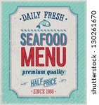 vintage seafood poster. vector... | Shutterstock .eps vector #130261670