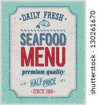 vintage seafood poster. vector... | Shutterstock .eps vector #130261670