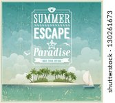 vintage seaside view poster.... | Shutterstock .eps vector #130261673