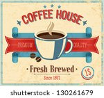 vintage coffee house card.... | Shutterstock .eps vector #130261679