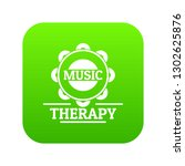 tambourine icon green isolated...