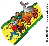 4 boys are pulling a wagon with ... | Shutterstock .eps vector #1302627016