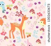 print animal pink background... | Shutterstock .eps vector #1302633673