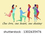 greeting card with lovers.... | Shutterstock .eps vector #1302635476