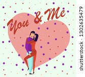 greeting card with lovers.... | Shutterstock .eps vector #1302635479