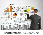 businessman drawing city scheme ... | Shutterstock . vector #130264070
