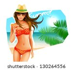 Hot Girl On A Beach. Vector...