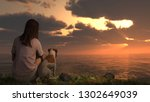 Stock photo jack russel terrier sitting with girl and viewing ocean sunset great background d illustration 1302649039