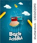 back to school vector banner... | Shutterstock .eps vector #1302652093