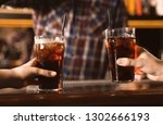 couple with glasses of... | Shutterstock . vector #1302666193