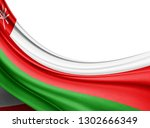 oman flag of silk with... | Shutterstock . vector #1302666349