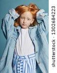 beautiful redheaded baby girl...   Shutterstock . vector #1302684223