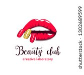 beautiful girl lips with bright ... | Shutterstock .eps vector #1302689599