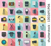 photographer equipment icons...   Shutterstock .eps vector #1302691906