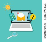 new email notification on... | Shutterstock .eps vector #1302693163
