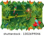 apes  and parrots exotic... | Shutterstock .eps vector #1302699046
