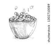 ilustration bowl of sugar... | Shutterstock .eps vector #1302710089