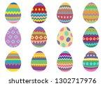 set of 12 colourful easter eggs ...   Shutterstock .eps vector #1302717976