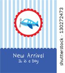 Baby Boy Arrival Card With...