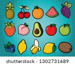 fruits   pineapple  cherry ... | Shutterstock .eps vector #1302731689
