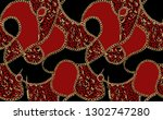 gold chains and animal print.... | Shutterstock .eps vector #1302747280
