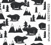 seamless pattern with bears ... | Shutterstock .eps vector #1302759523