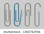 realistic paper clips. isolated ... | Shutterstock .eps vector #1302762556