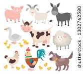 farm animals. pig donkey cow... | Shutterstock .eps vector #1302762580