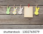Easter Rabbits And Blank Paper...