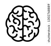 human brain simple linear icon... | Shutterstock .eps vector #1302768889