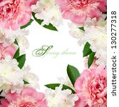 Peach pink and white peonies frame with copy space - stock photo