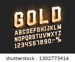 golden font alphabet  number... | Shutterstock .eps vector #1302773416